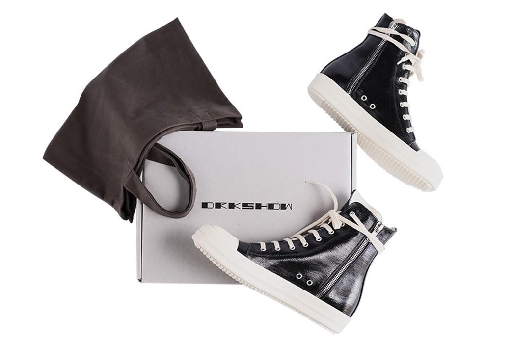 Leave-Home-In-Rick-Owen's-Lacquered-DRKSHDW-Denim-Ramones-Sneakers-pair-boc-and-bag