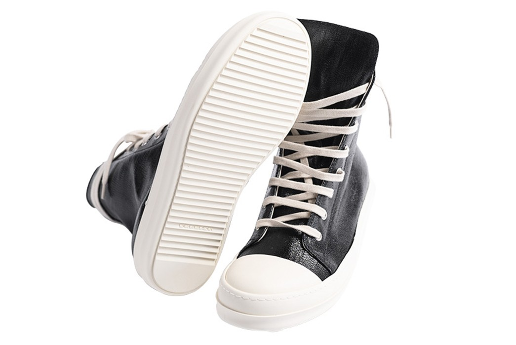 Leave-Home-In-Rick-Owen's-Lacquered-DRKSHDW-Denim-Ramones-Sneakers-pair-bottom-and-front