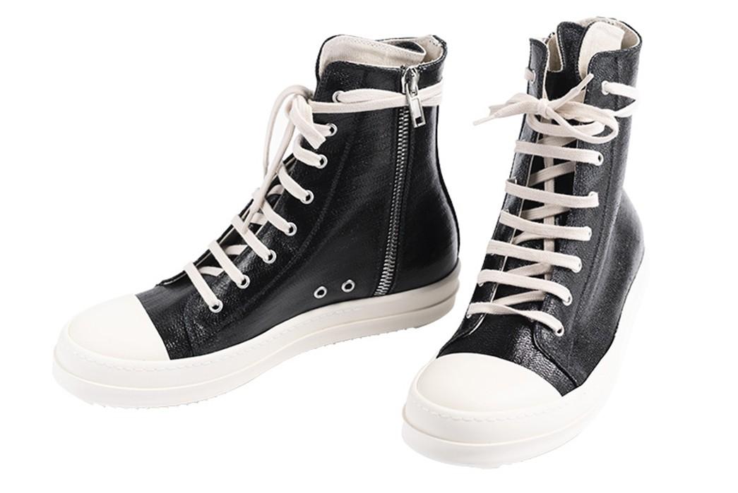 Leave-Home-In-Rick-Owen's-Lacquered-DRKSHDW-Denim-Ramones-Sneakers-pair-side