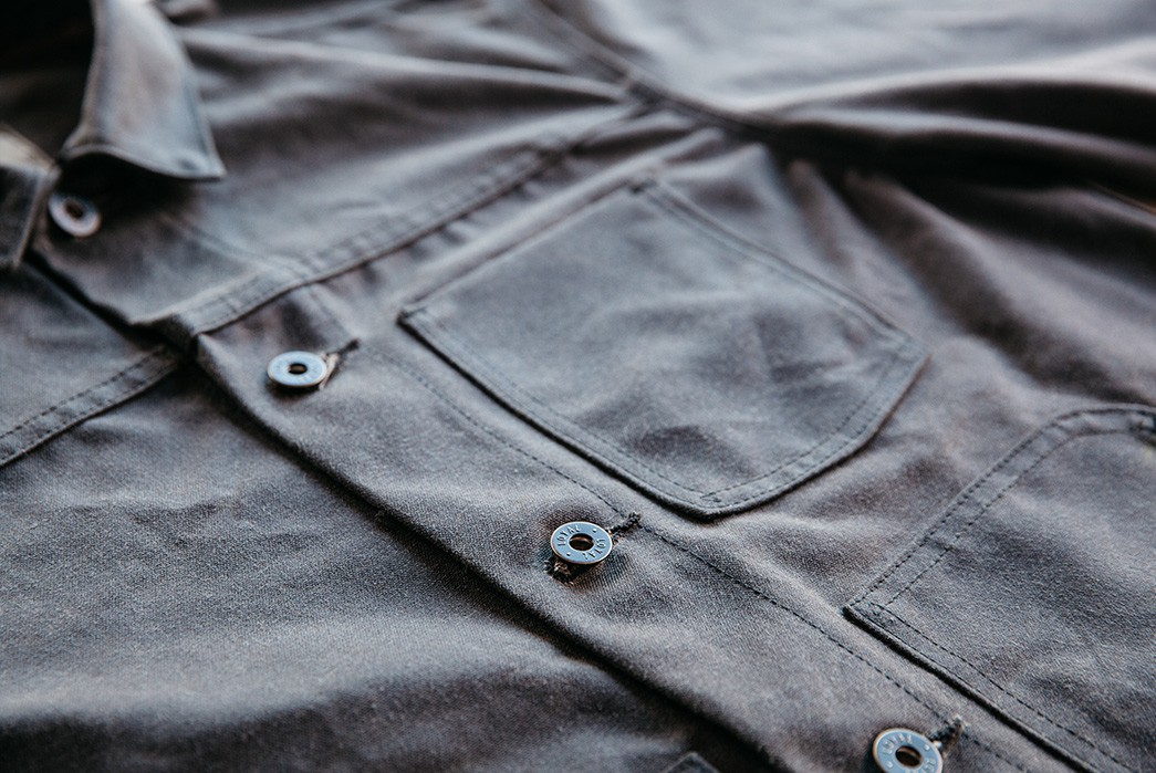 Loyal-Stricklin-Latest-Wayman-Jacket-Trades-Leather-For-Denim-and-Waxed-Canvas-front