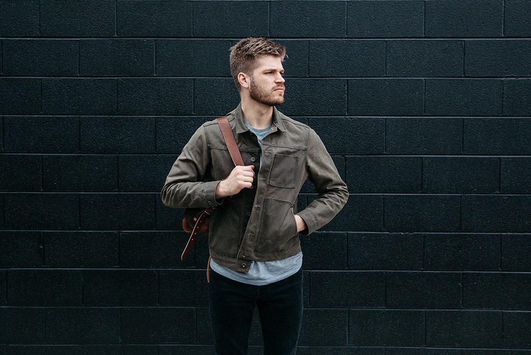 Loyal-Stricklin-Latest-Wayman-Jacket-Trades-Leather-For-Denim-and-Waxed-Canvas-model-front-brown-1
