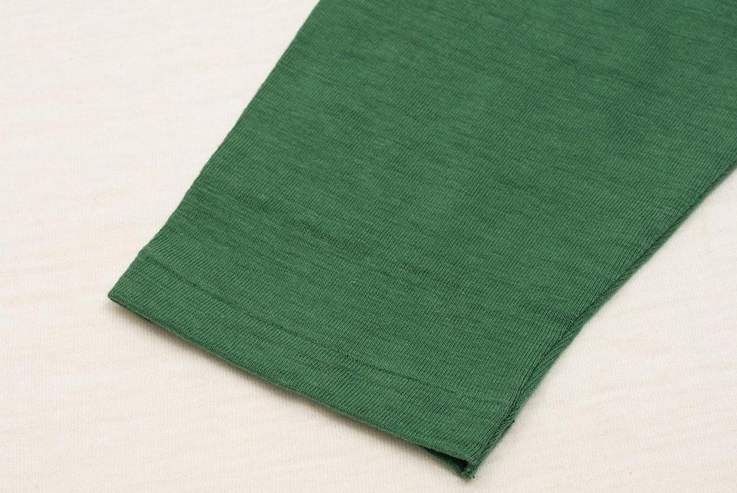 Warehosue-&-Co.-Pitches-Tubular-Knit-Baseball-Tees-green-sleeve