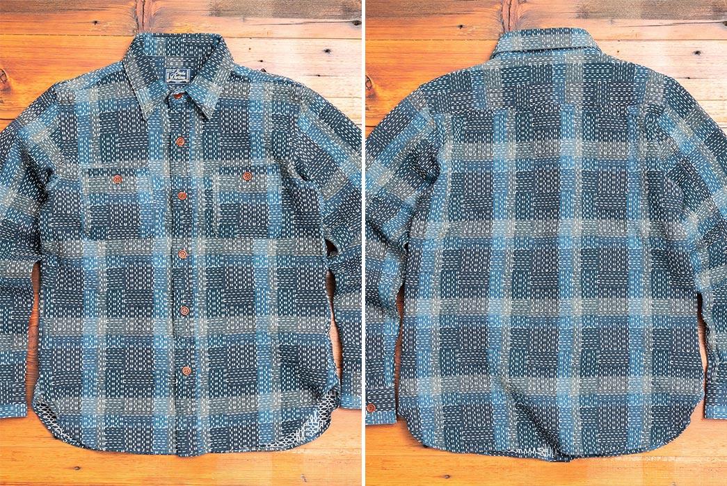 Textured,-Indigo-Work-Shirts---Five-Plus-One-3)-Studio-d'Artisan-Noragi-Sashiko-Work-Shirt-in-Indigo