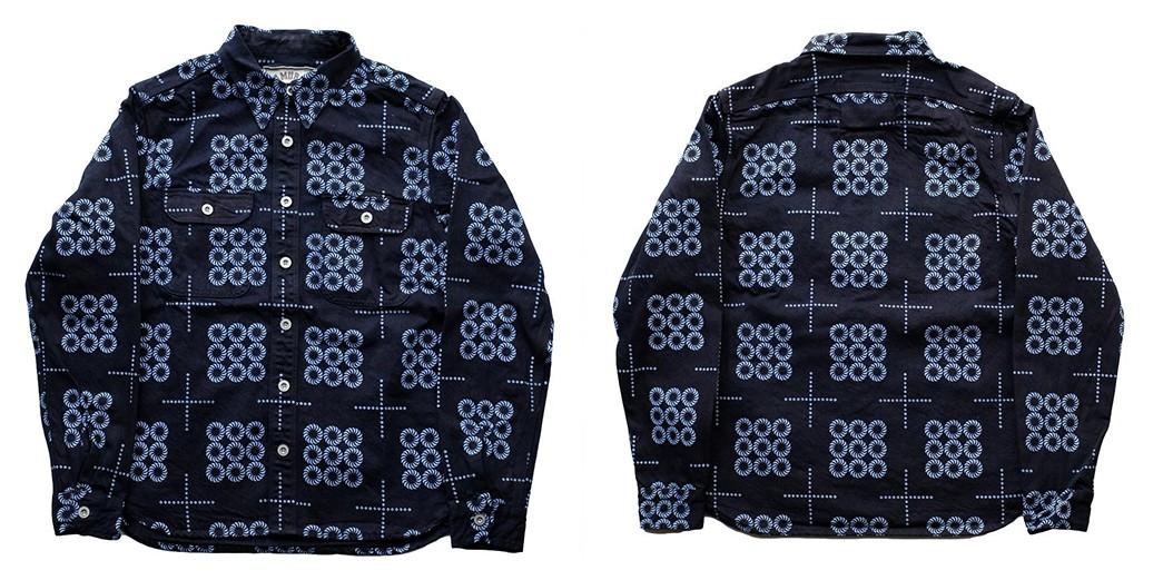 Textured,-Indigo-Work-Shirts---Five-Plus-One-4)-Samurai-Jeans-SSS21-KM-Kemanmon-Work-Shirt-in-Indigo-Black-Denim