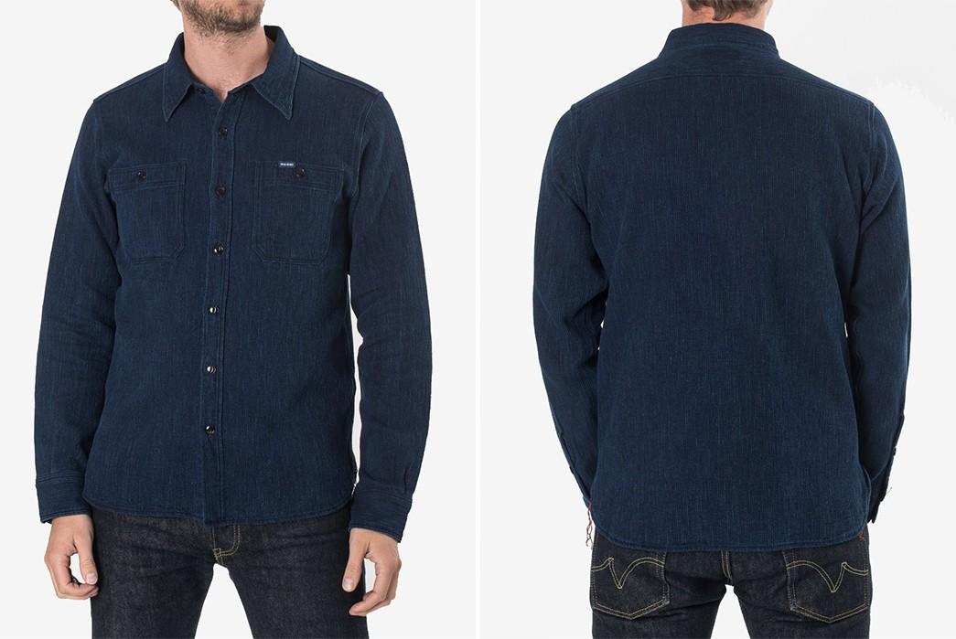 Textured,-Indigo-Work-Shirts---Five-Plus-One-5)-Iron-Heart-Waffle-Work-Shirt-in-Indigo