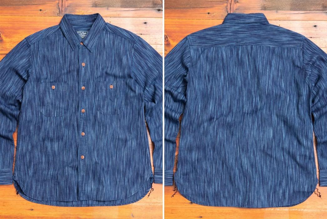Textured,-Indigo-Work-Shirts---Five-Plus-One-Plus-One---Studio-d'Artisan-Kasuri-Work-Shirt-in-Indigo