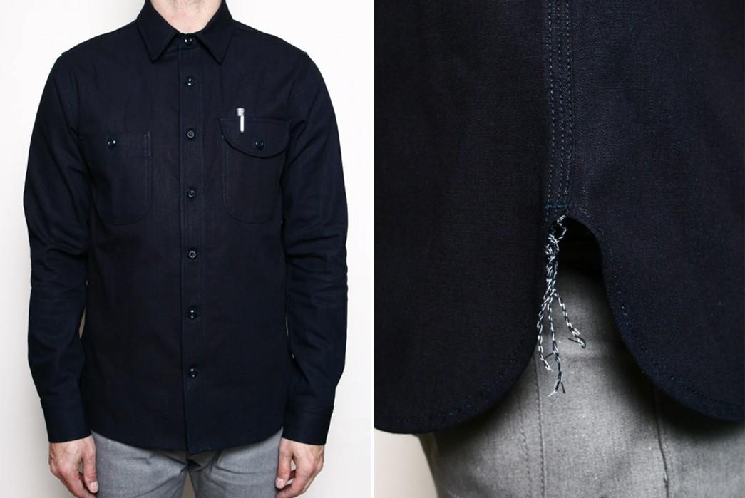 Textured,-Indigo-Work-Shirts---Five-Plus-One 1) Rogue Territory: Work Shirt in Indigo Selvedge Canva