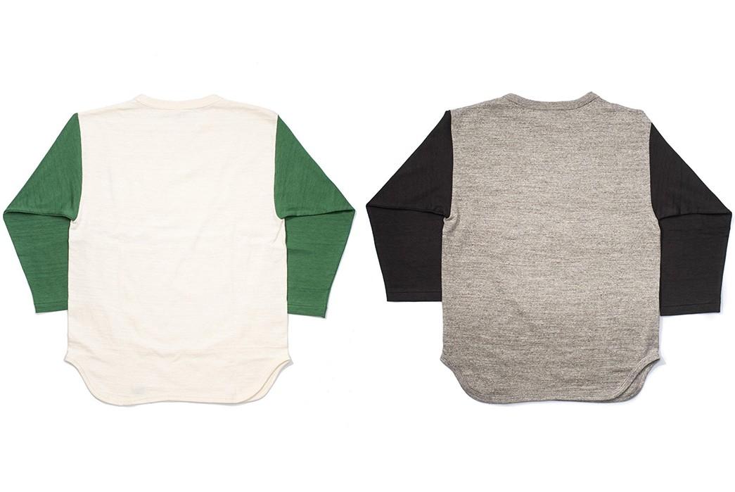 Warehosue-&-Co.-Pitches-Tubular-Knit-Baseball-Tees-green-and-black-backs