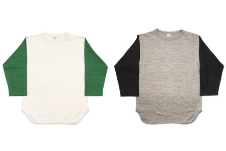 Warehosue-&-Co.-Pitches-Tubular-Knit-Baseball-Tees-green-and-black fronts
