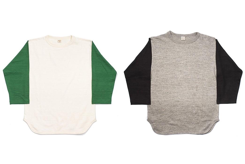 Warehosue-&-Co.-Pitches-Tubular-Knit-Baseball-Tees-green-and-black fronts