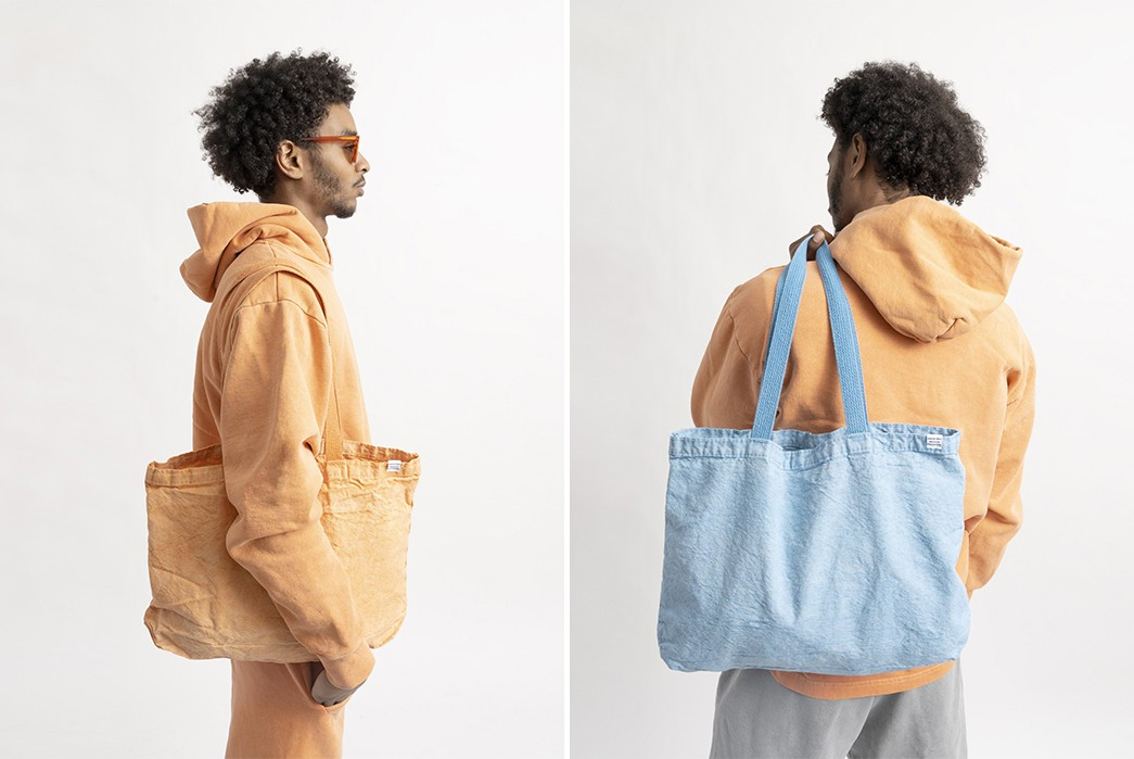 American-Trench-Drops-A-Pigment-Dyed-Capsule-In-Time-For-Spring-yellow-and-blue-bag-model