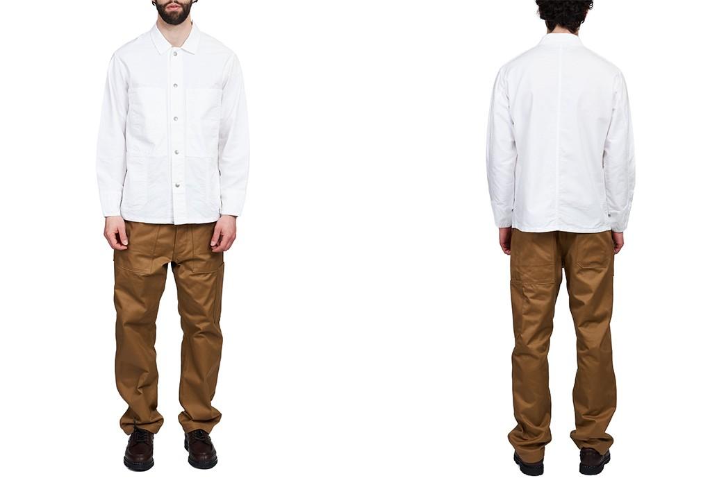Don't-Do-Any-Gardening-In-This-White-Oxford-Sassafras-Transplant-Jacket-model-front-back