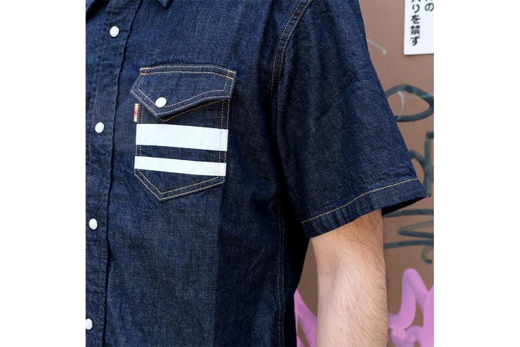 Go-To-Battle-Western-Style-With-Momotaro's-Latest-Short-Sleeve-Shirt-front-model-pocket-and-sleeve