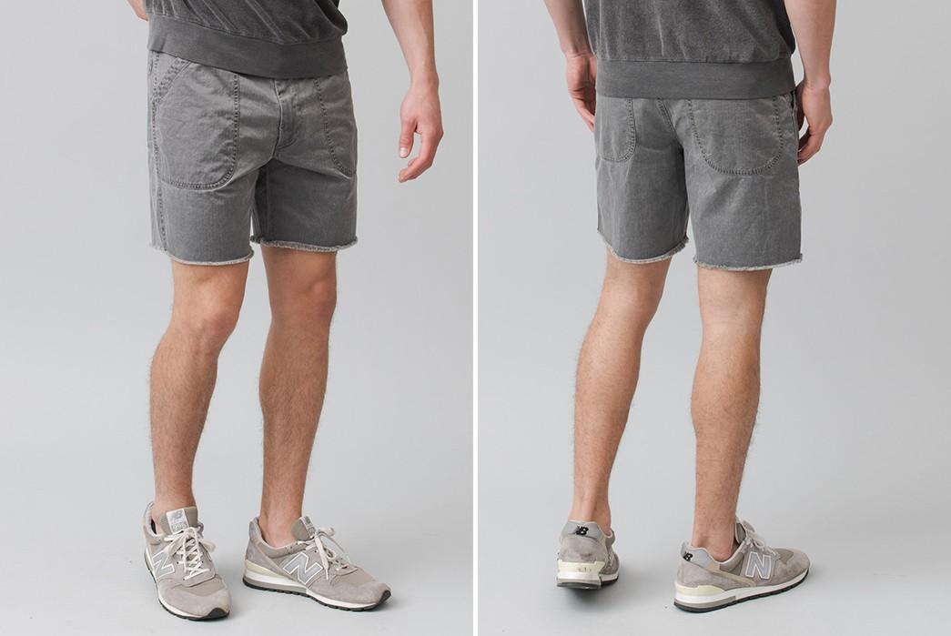 Save-Khaki-Chops-Up-Herringbone-Shorts-For-Summer-grey-front-back-model