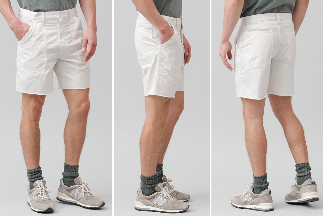Save-Khaki-Chops-Up-Herringbone-Shorts-For-Summer-white-front-side-back-model