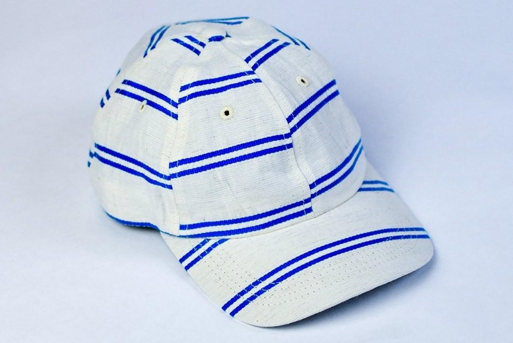 Upstate-Stock-Turns-Surplus-Mask-Fabrics-Into-Ball-Caps-white-blue