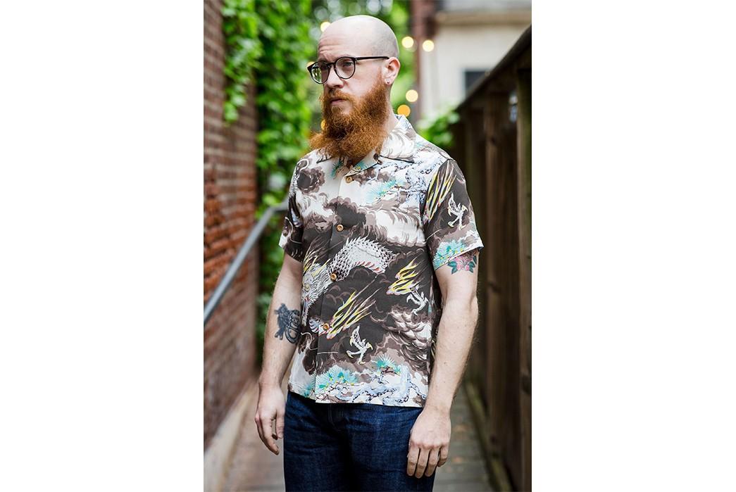 Channel-Your-Inner-Guy-Fieiri-With-Sun-Surf's-Dragon-Hawaiian-Shirt-model-side