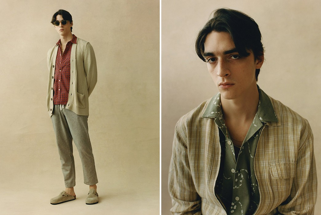 Corridor's-SS21-Lookbook-Blends-70s-Charm-With-Urban-Attitude-beige-sweater-and-shirt