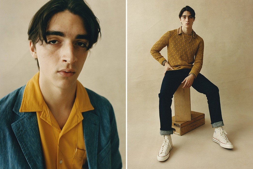 Corridor's-SS21-Lookbook-Blends-70s-Charm-With-Urban-Attitude-grey-jacket-and-yellows-weater