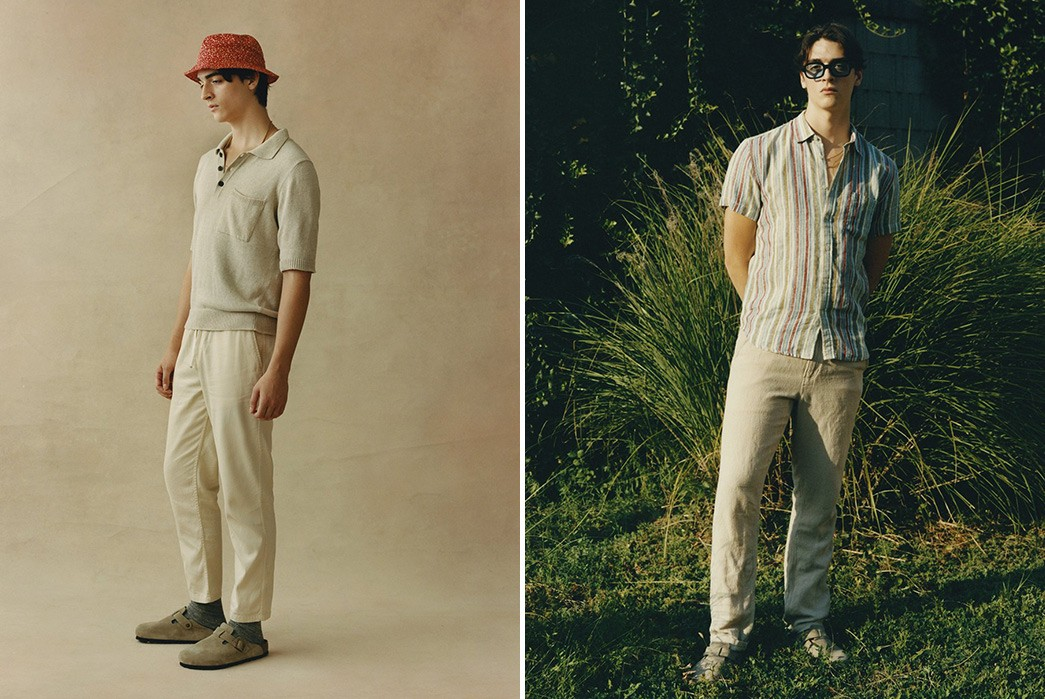 Corridor's-SS21-Lookbook-Blends-70s-Charm-With-Urban-Attitude-red-hat-and-beige-pants