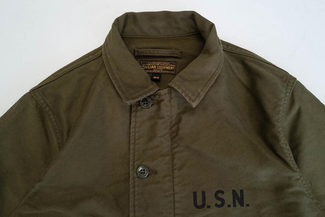Freewheelers'-USN-Deck-Worker-Jacket-Is-Back-front-collar