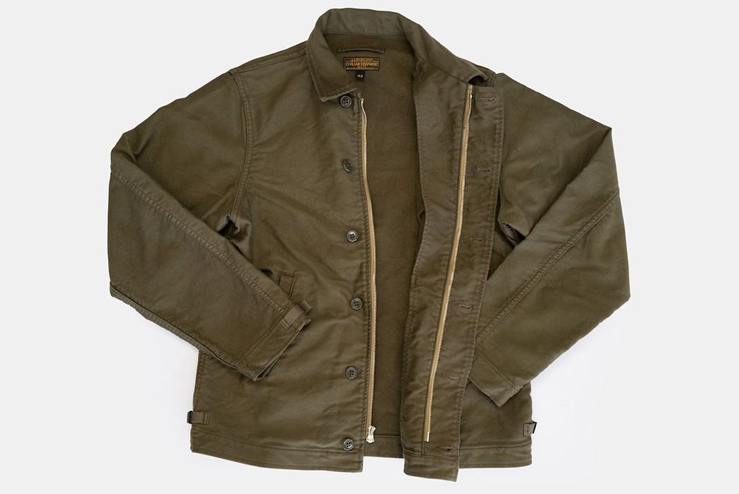 Freewheelers'-USN-Deck-Worker-Jacket-Is-Back-front-open