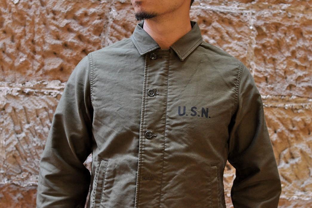 Freewheelers'-USN-Deck-Worker-Jacket-Is-Back-model-front-detailed