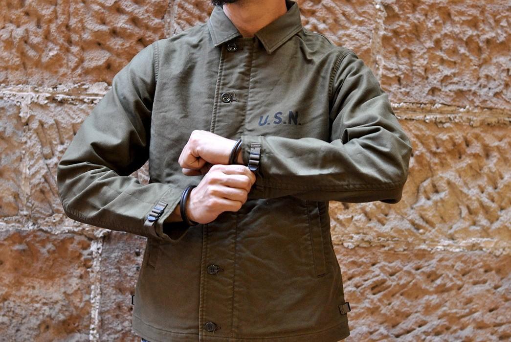 Freewheelers'-USN-Deck-Worker-Jacket-Is-Back-model-front-sleeves