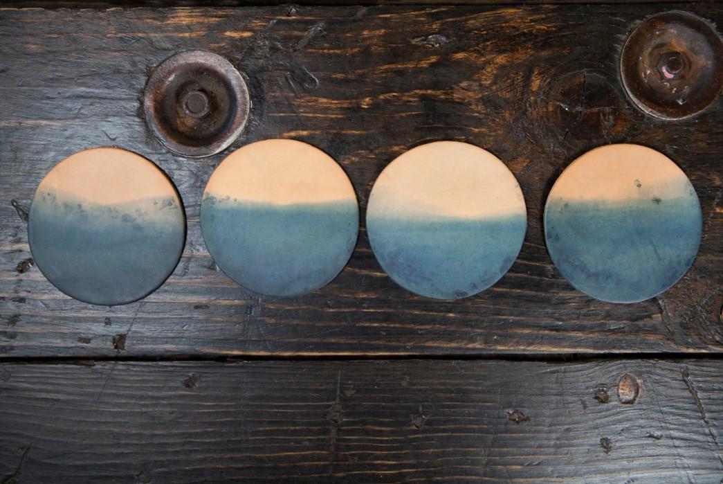 Pigeon-Tree-Crafting-Dips-Natural-Veg-Tan-Coasters-Into-Indigo-Dye-four