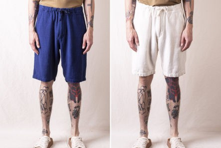 Stay-Cool-In-orSlow's-New-Yorker-Shorts-model-blue-and-beige-front