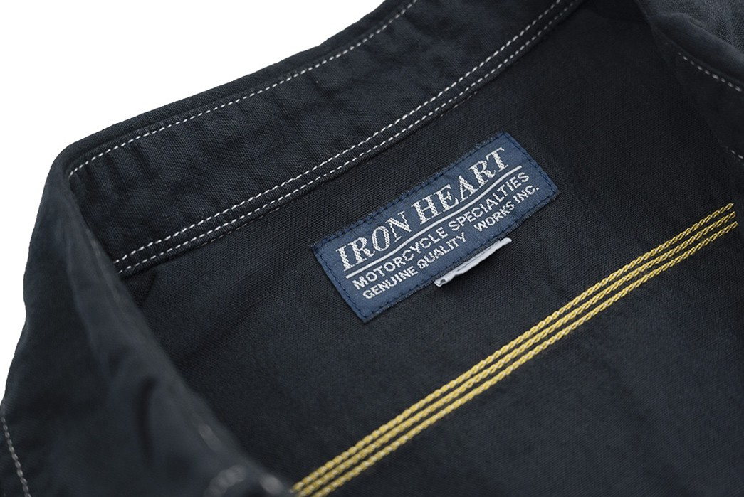 You-Won't-Overheat-In-Iron-Heart's-Overdyed-Chambray-front-inside-brand