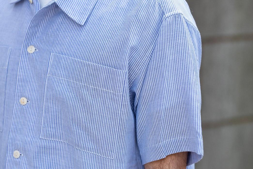 Blluemade's-Noguchi-Shirt-Is-NYC-Made-Summer-Perfection-model-front-left-shoulder