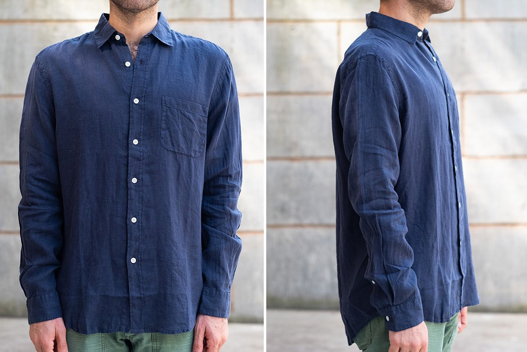 Flax-Lyrical-With-This-Linen-Shirt-By-Portugese-Flannel-model-front-and-side