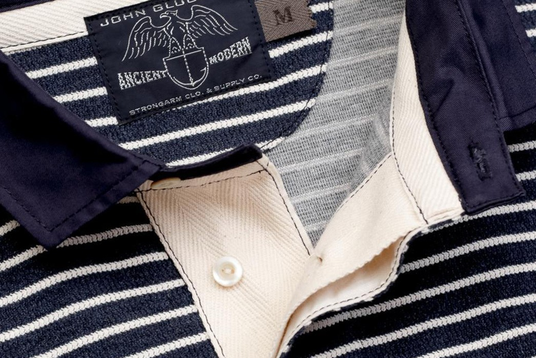 John-Gluckow-Channels-Vintage-Rugby-Wear-With-His-Sailmaker-Shirt-blue-front-collar-open