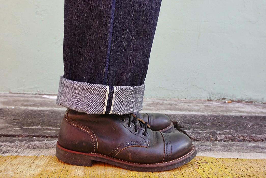 Kerbside-&-Co.'s-Lot-75E-Jeans-Is-Made-From-Deadstock-Kaihara-Mills-Denim-model-leg-selvedge