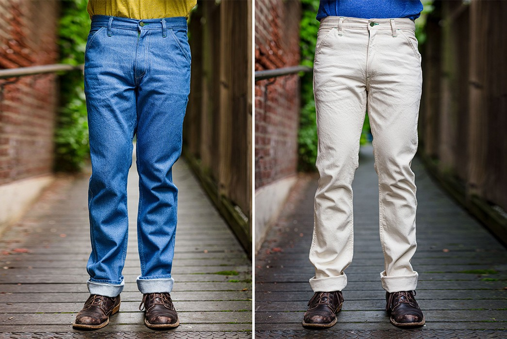 Left-Field's-Latest-NYC-Work-Uniform-Denim-Comes-In-Rodeo-Blue-&-Natural-Cone-model-front-blue-and-white