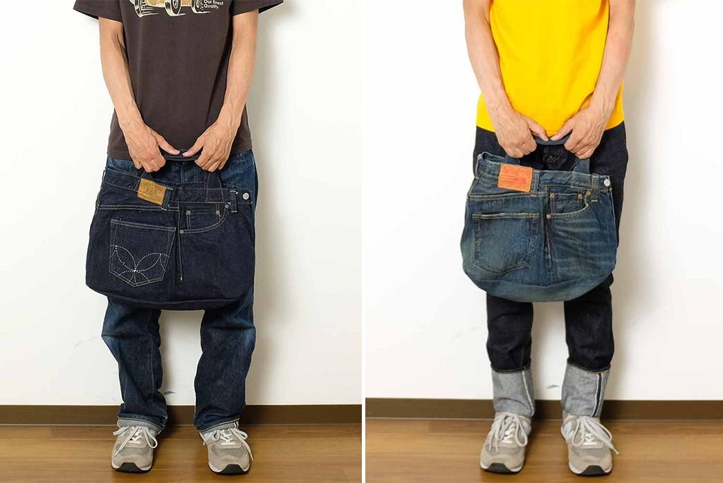 Sugar-Cane-Chops-Up-Old-Favorites-Into-2-Way-Denim-Franken-Bags-model-front-dark-and-light-blue