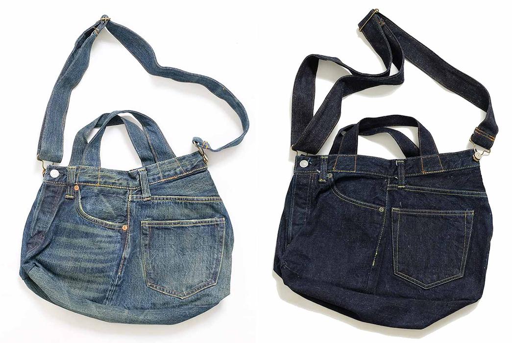 Sugar-Cane-Chops-Up-Old-Favorites-Into-2-Way-Denim-Franken-Bags-light-and-dark-blue-belts