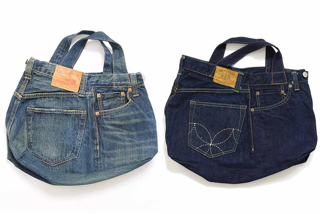 Sugar-Cane-Chops-Up-Old-Favorites-Into-2-Way-Denim-Franken-Bags-light-and-dark-blue