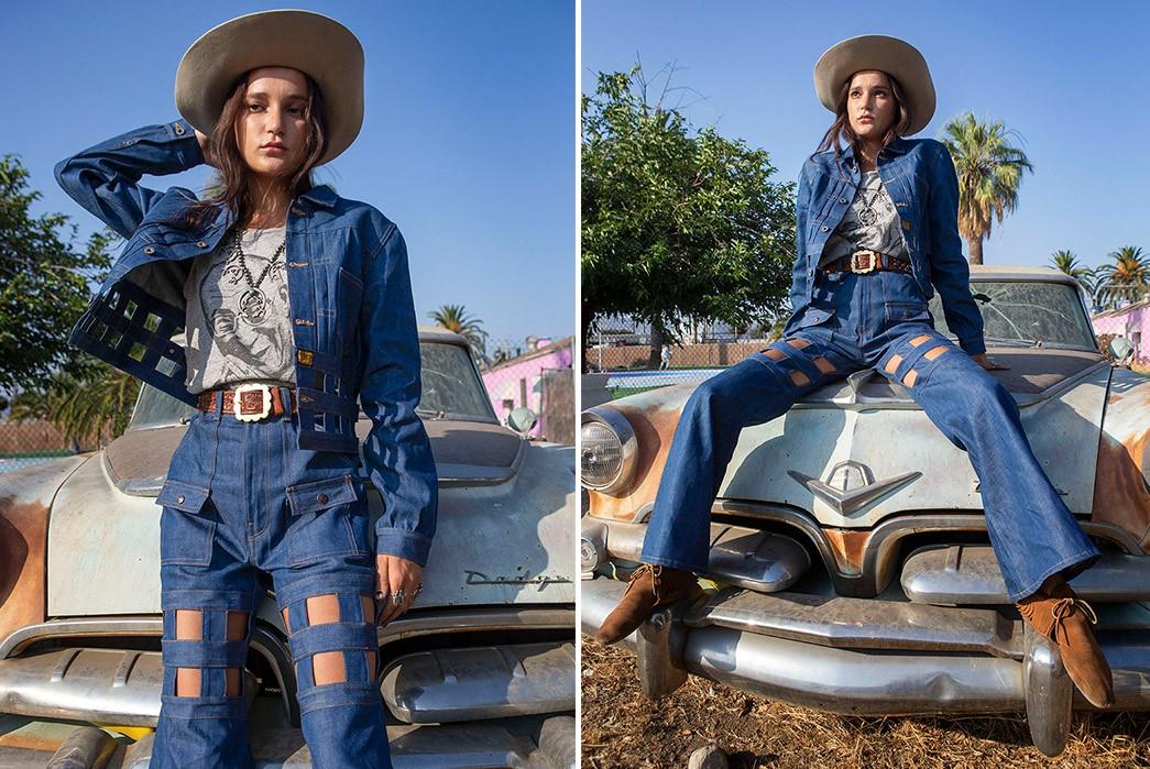 Erik-Kvatek-Shoots-Provocative-Lookbook-For-Kapital-Kountry-female-in-blue-in-a-front-of-car