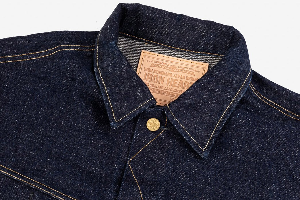 Iron-Heart-Re-Ups-Its-18-oz.-Rendition-Of-Lee's-1946-101J-Rider-Jacket-front-collar
