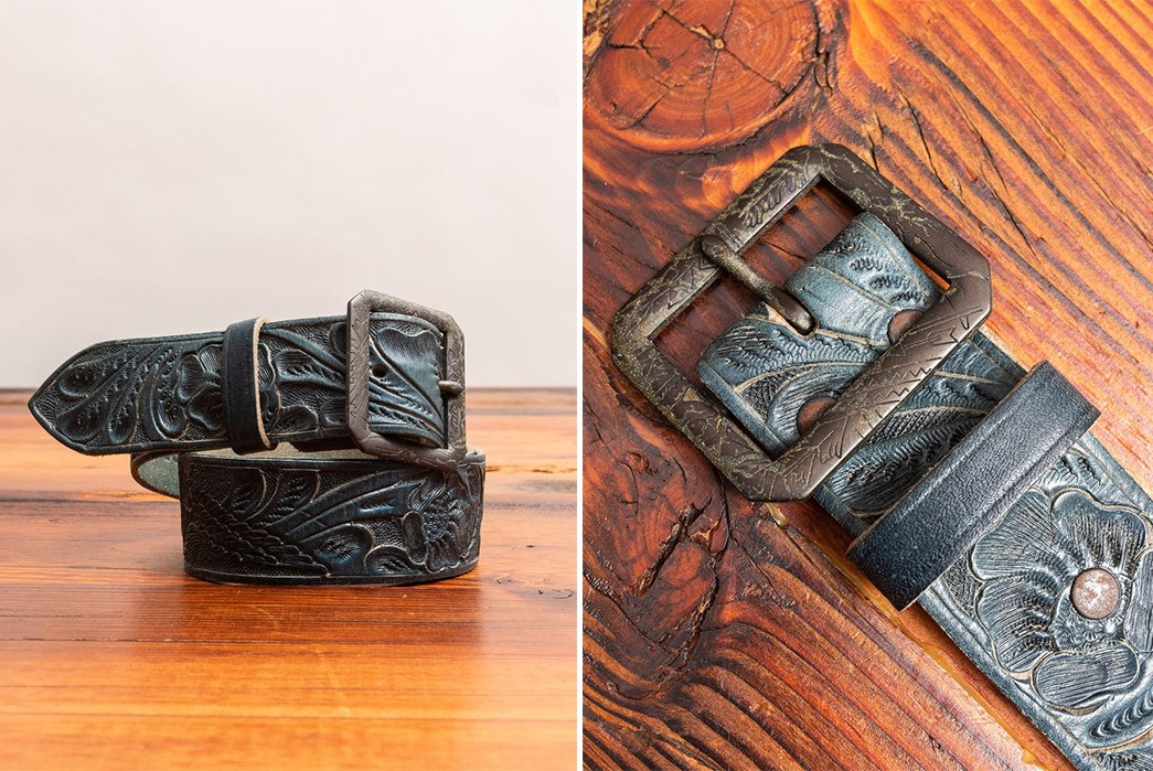 Decorated-Leather-Belts---Five-Plus--One-Plus-One---RRL-Hand-Tooled-Leather-Belt-in-Indigo
