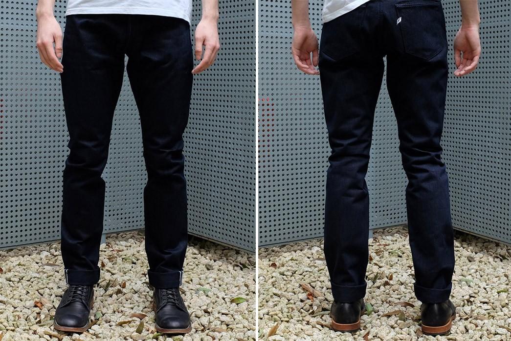 Indigo-Indigo-Selvedge-Jeans---Five-Plus-One-Plus-One---Pure-Blue-Japan-AI-019-WID-model-front-back