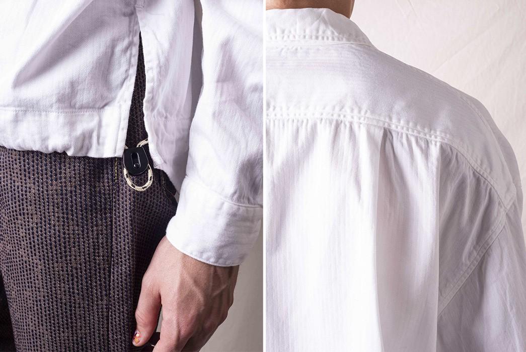 Pop-Over-Kapital's-Herringbone-Twill-Shirt-Anorak-model-down-and-shoulder