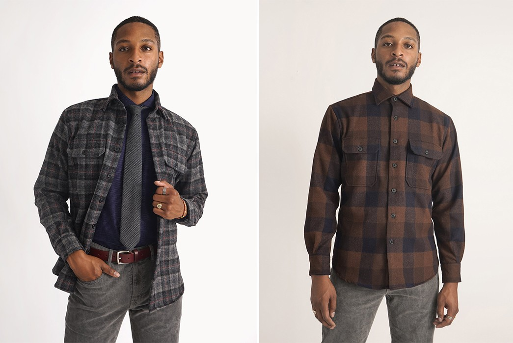 American-Trench-Comes-Through-With-More-Woolrich-Wool-Plaid-Overshirts-grey-and-brown-model