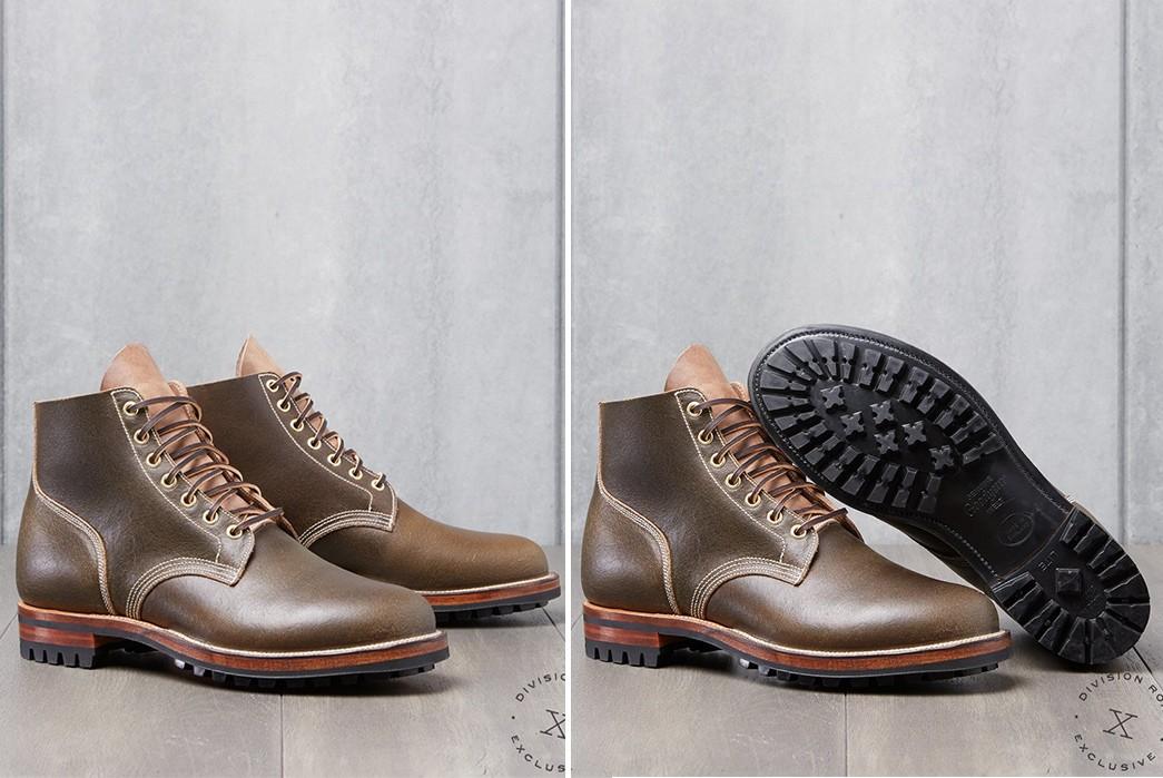 Commando-Sole-Boots---Five-Plus-One-2)-Viberg-Olive-Waxed-Flesh-Boondocker