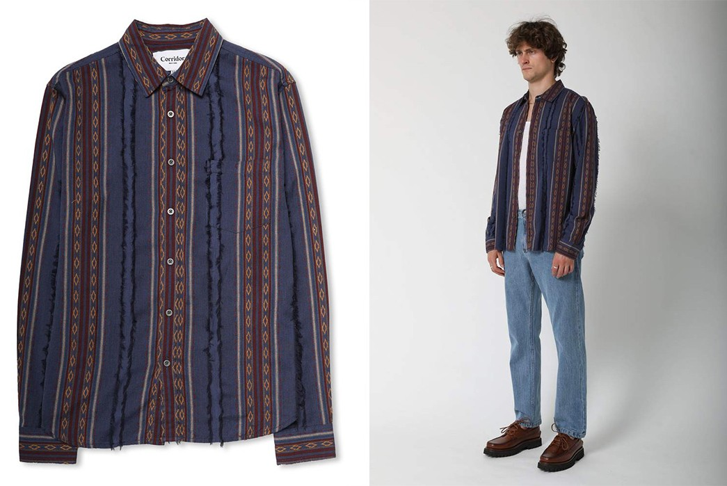 Corridor-NYC's-Fil-Coupe-Fall-Stripe-Shirt-Is-Suitable-For-All-Seasons-front-model-side