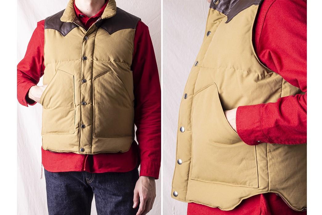 Go-Full-Fargo-With-Sugar-Cane's-Leather-Yoke-Down-Vest-model-front-side