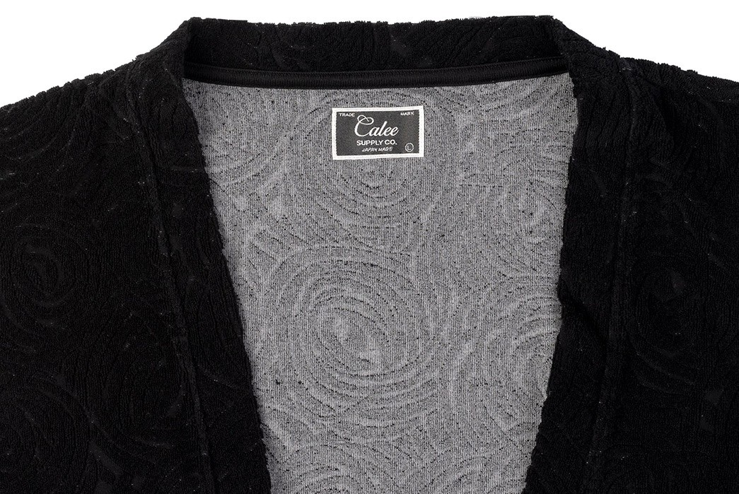 Stay-Suave-In-Calee's-Murdered-Out-Jacquard-Knit-Kimono-front-collar-2