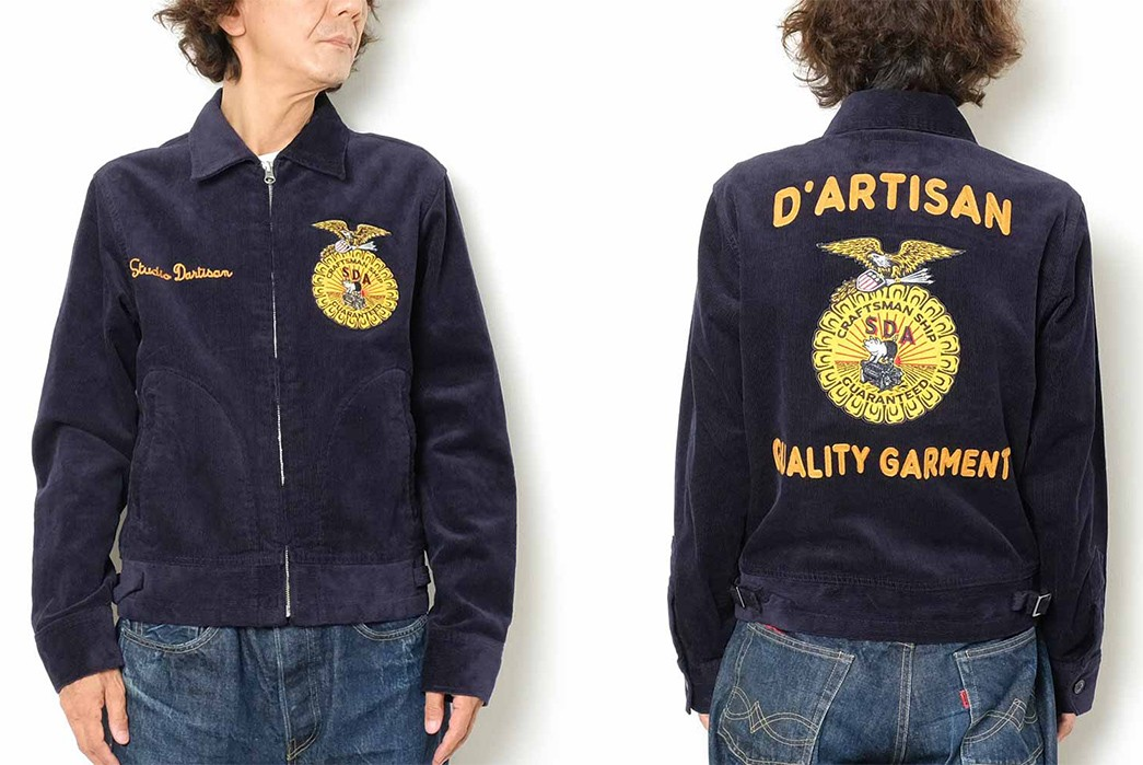 Studio-D'Artisan-Channels-Vintage-American-Farmers-Jackets-With-Its-SDA-Embroidery-Jacket-model-front-back
